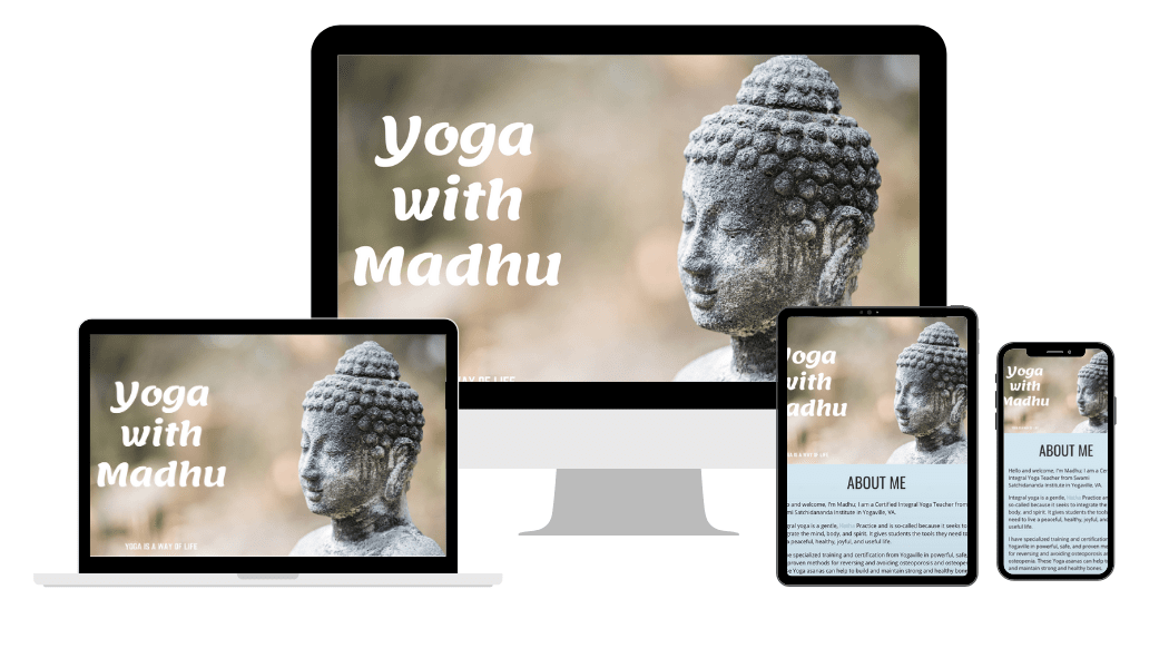 yogawithmadhu responsive design showing website on desktop, laptop, tablet and mobile phone